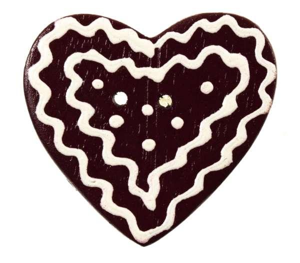 Knöpfe aus Holz Lebkuchenherz mittelbraun