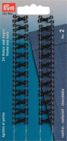 Federhaken und Augen MS-2 schwarz