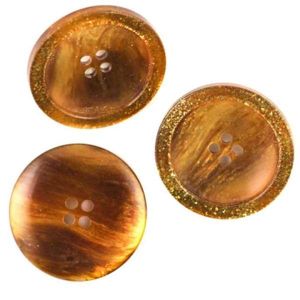 Mantelknöpfe kaufen 4-Loch Knopf mit gold Rand KM-69-braun