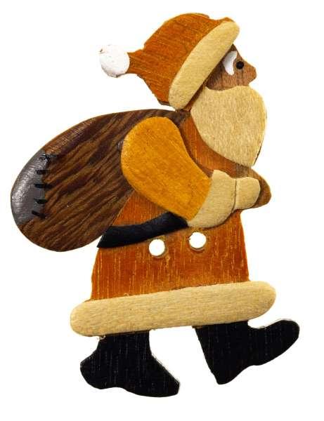 Knöpfe aus Holz Santa-Claus mit Sack