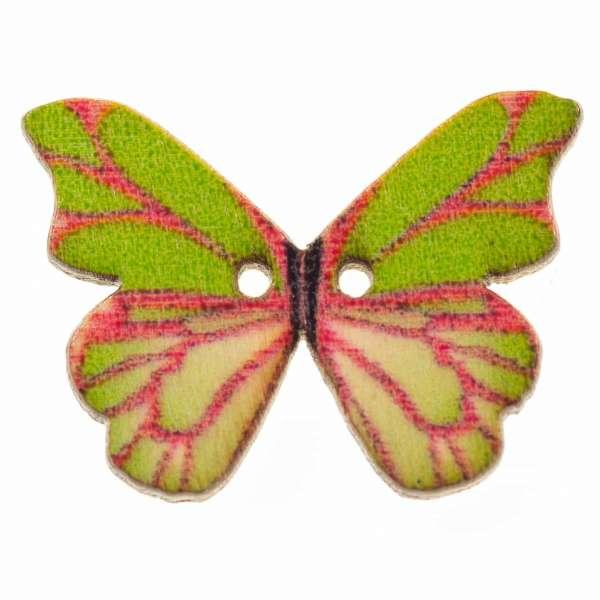 Holzknöpfe Schmetterling rosa-grün hk-107-19