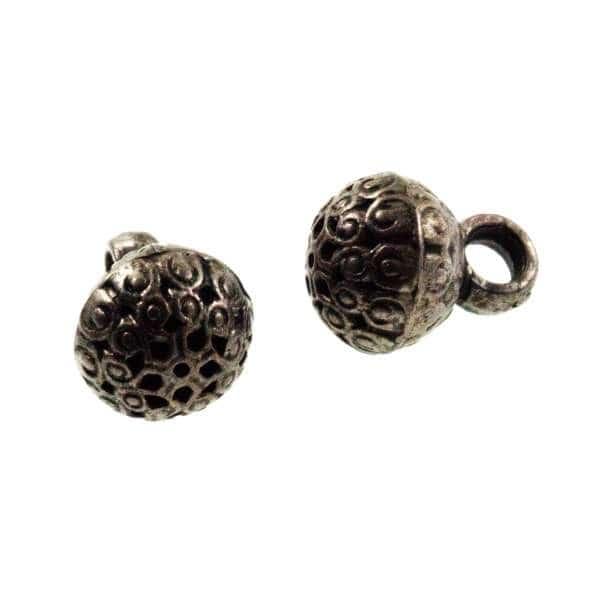 Perl Knöpfe mit Ornament Muster altnickel TK-14
