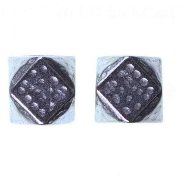 Würfel Kordelenden aus Metall silber KOE-19s