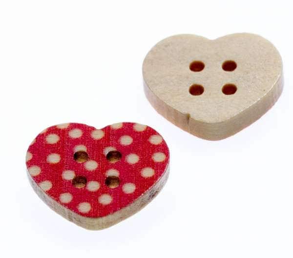 Holz Knöpfe kaufen! Holz Herz Knopf rot mit Punkten hk-232