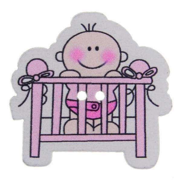 Kinderknöpfe kaufen Baby-Bett- KK-92-rosa