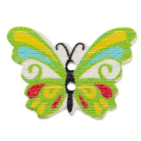 Holzknöpfe Schmetterling grün bunt hk-107-4
