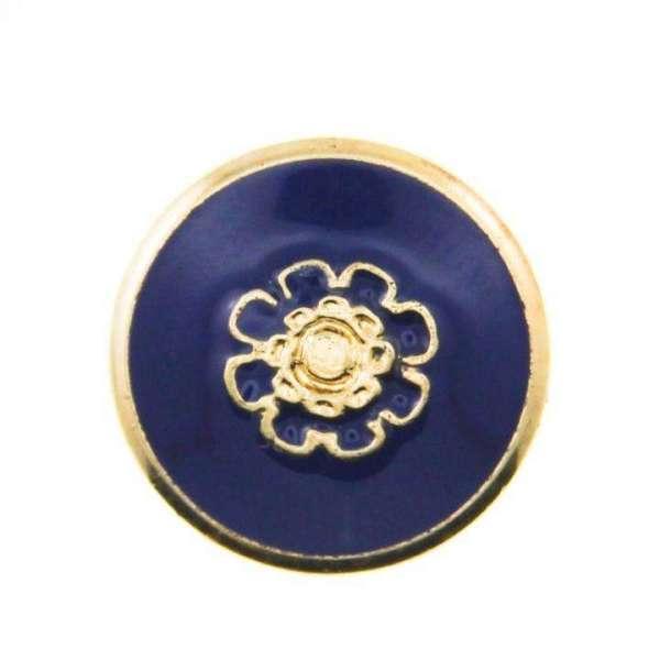 Knöpfe mit Blume Mk 220g blau