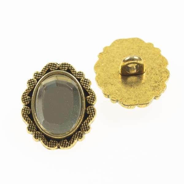 ovale Schmuckknöpfe mit Strass tk-118-ag crystal