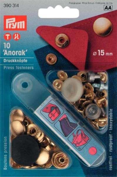 Druckknöpfe Anorak Design gold 15mm NKW-1g-390314
