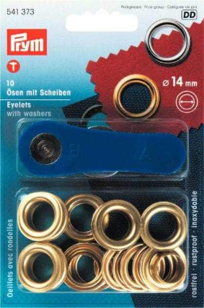 Ösen gold mit Scheiben 14mm 10 Stk mit Werkz.
