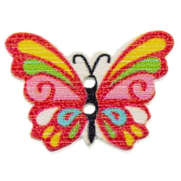 Holzknöpfe Schmetterling rot bunt hk-107-3