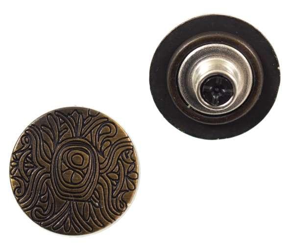 Jeansknöpfe Ornament Muster NJ-59-altmessing