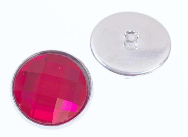 Knöpfe mit Glas Crystal st-200-silber-pink