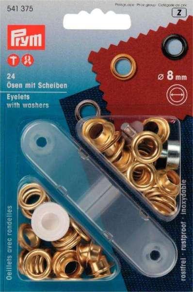 Ösen gold mit Scheiben 8mm 24 Stk u.Werkz.