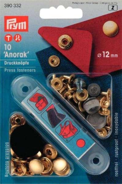Druckknöpfe Anorak Design gold 12mm