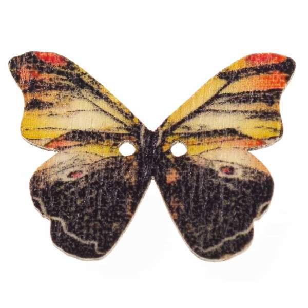 Holzknöpfe Schmetterling schwarz braun hk-107-16