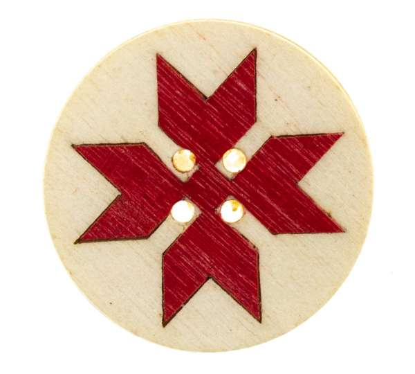 Knöpfe aus Holz Norweger Stern rot