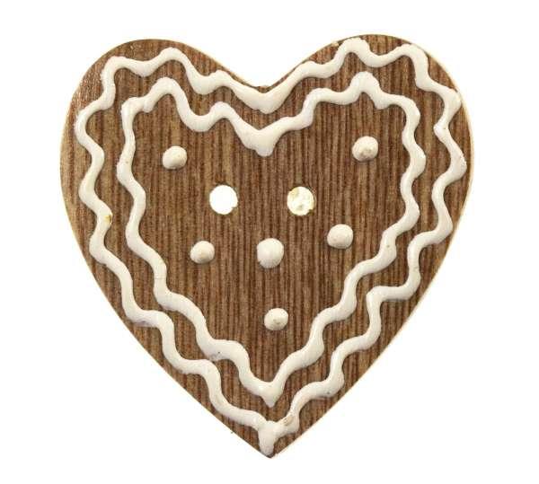 Knöpfe aus Holz Lebkuchenherz hellbraun