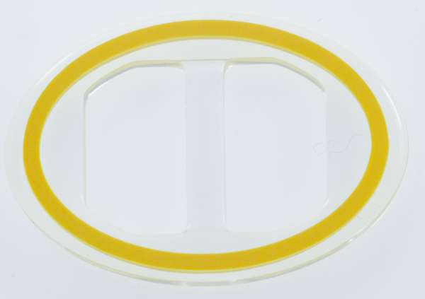 Transparente Schnalle Oval mit gelb eingelegten Akzent