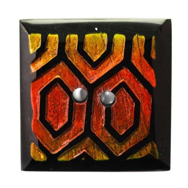 Quadrat Hornknöpfe orange gelb HK-401 vorderseite