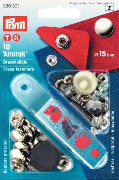 Druckknöpfe Anorak silber 15mm NKW-1s-390301