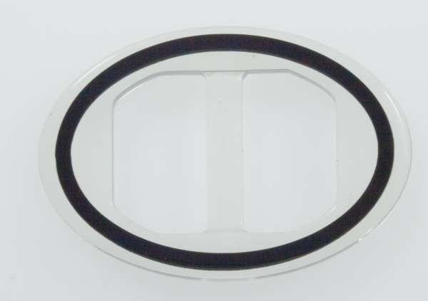 Transparente Schnalle Oval mit schwarz eingelegten Akzent