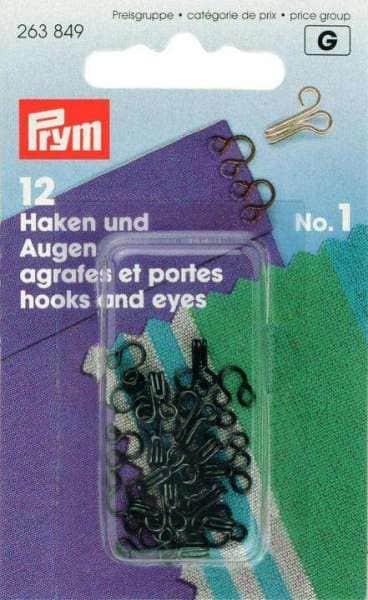 12 Haken und Augen (Ösen) No1