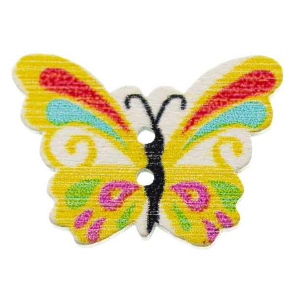 Holzknöpfe Schmetterling gelb bunt hk-107-1