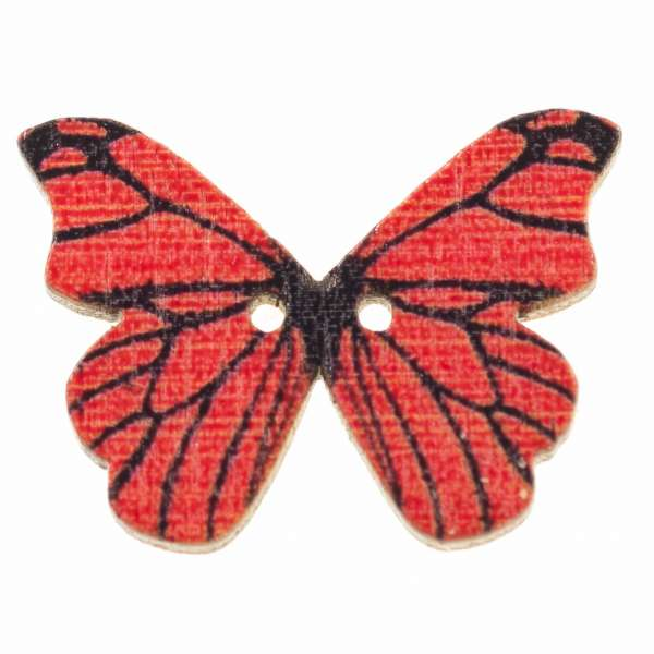 Holzknöpfe Schmetterling rot schwarz hk-107-10