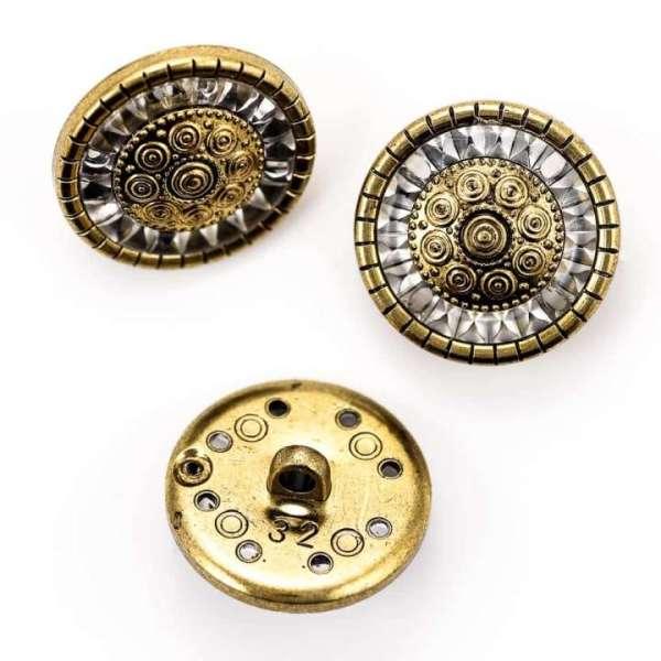 Ösen Knöpfe mit Spiegel Rand gold Farben kgo-13 alt gold