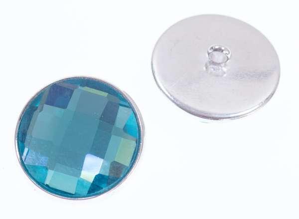 Knöpfe mit Glas Crystal st-200-silber-aqua