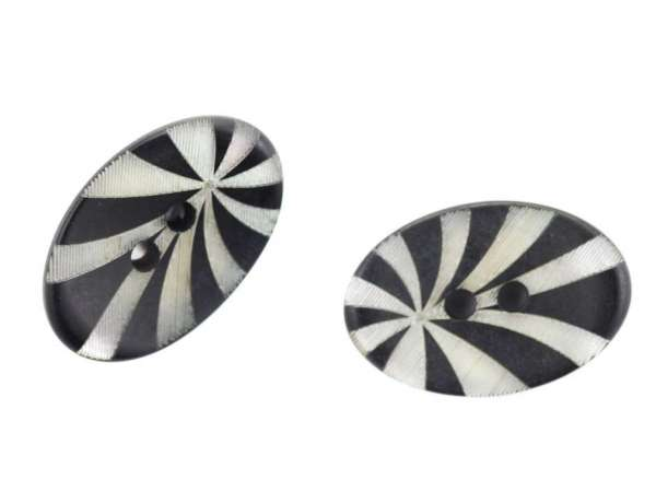 Knöpfe Oval schwarz silber KS-23
