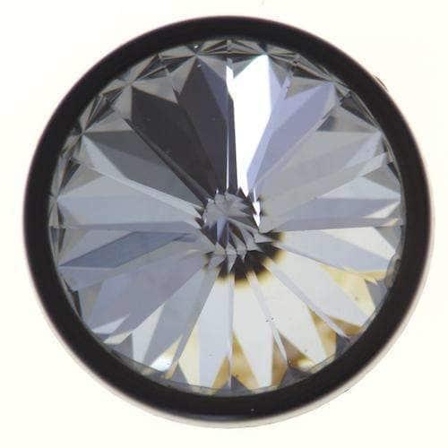 Kristall Knöpfe mit Öse schw. crystal