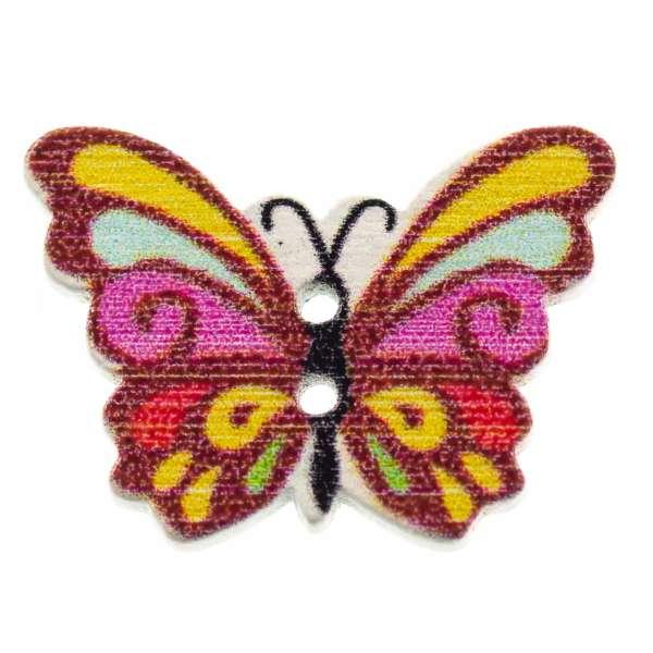 Holzknöpfe Schmetterling pink bunt hk-107-5