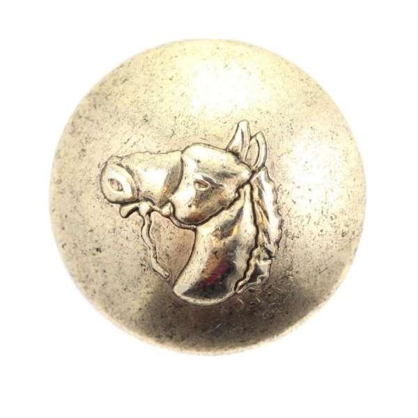 Rundlicher Metallknöpfe mit Pferdekopf altgold
