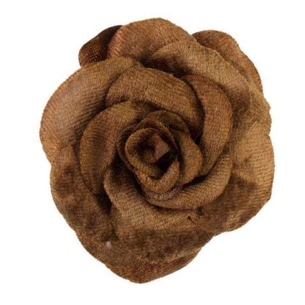 Brosche/Haargummi Rose BRO-29braun