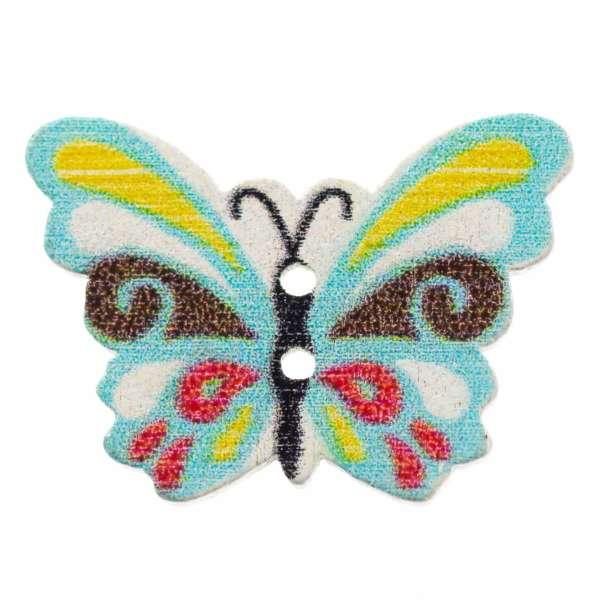 Holzknöpfe Schmetterling Türkis bunt hk-107-2