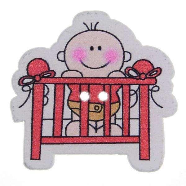 Kinderknöpfe kaufen Baby-Bett-KK-92-rot