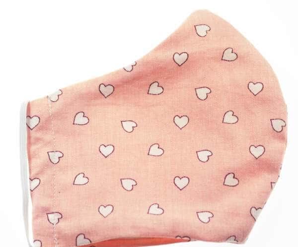 Mund - Nasen Masken rosa weiß Herzchen