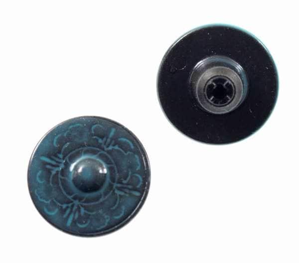 Jeansknopf mit Trachten Muster NJ-56 blau grün