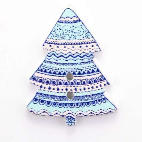 Knöpfe Tannenbaum blau