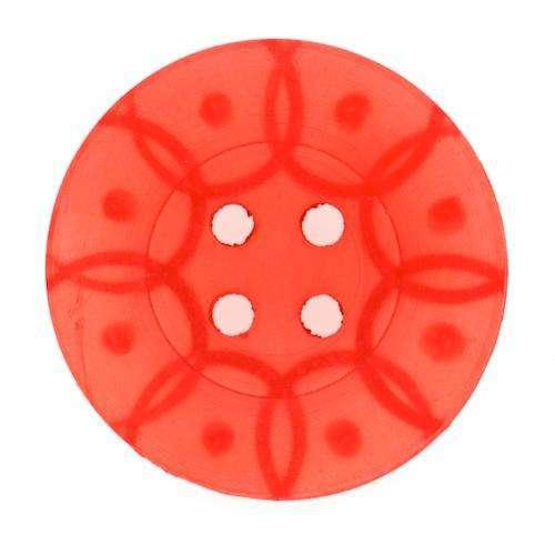 Knöpfe mit gefrästem Muster rot KRO-36